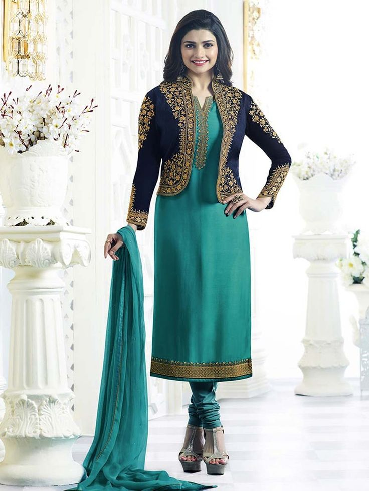 Eye-catching outfit will add a regal touch to your personality. Item Code: SLANB002 Shop more: http://www.bharatplaza.com/women/salwar-kameez.html.