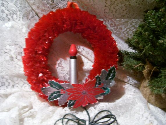Antique 1950 S Retro Christmas Gem Lite Red Wreath W