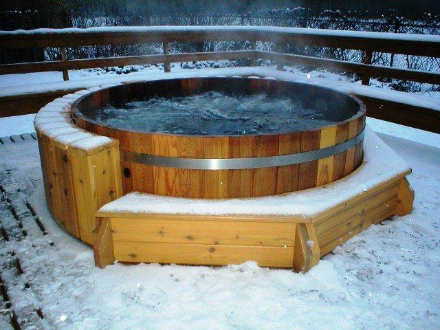 Die besten 25+ Badebottich Ideen auf Pinterest Schwimmteich - whirlpool im garten charme badetonne