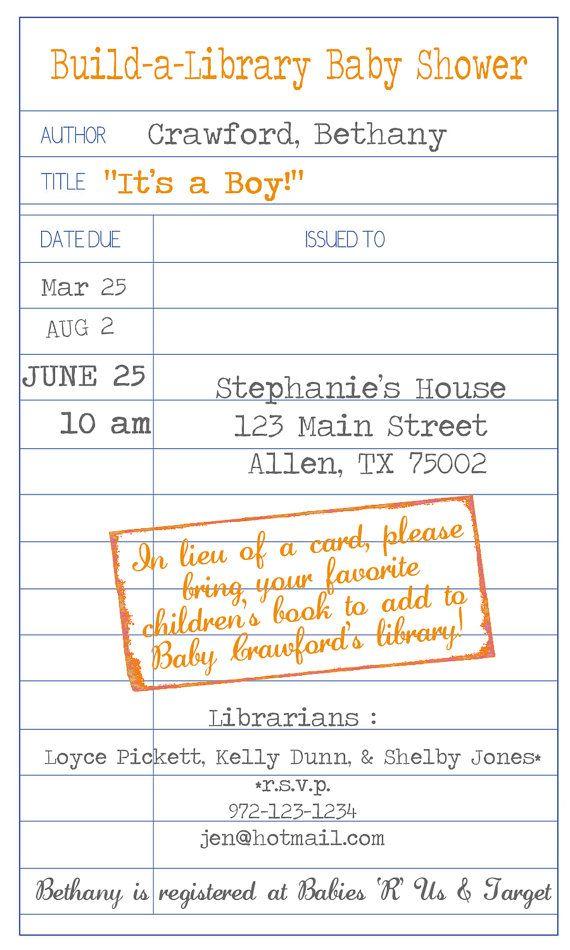 Library Theme Baby Shower: Baby Shower Ideas, Baby Shower Invitations, Kristi Babyshower, Book Baby Showers, Cute Ideas, Babyshowers Weddings, Card, Children Books