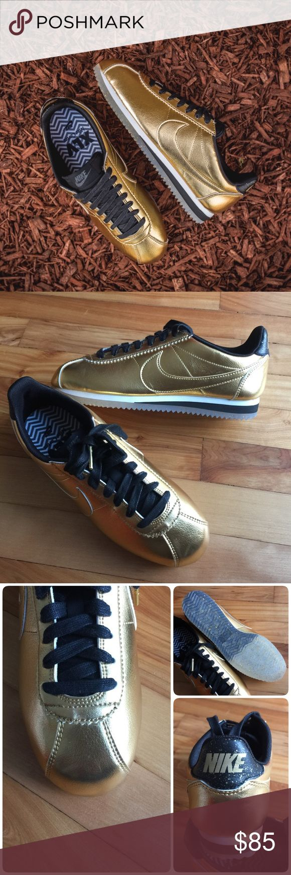 🇺🇸New🇺🇸 NIKE Classic Cortez Leather SE ~ 7.5 brand new no lid size 7.5 metallic gold comes from smoke free home guaranteed 100% authentic J1700043 Nike Shoes Sneakers