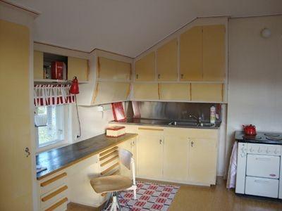 Swedish 1950's masonite kitchen.