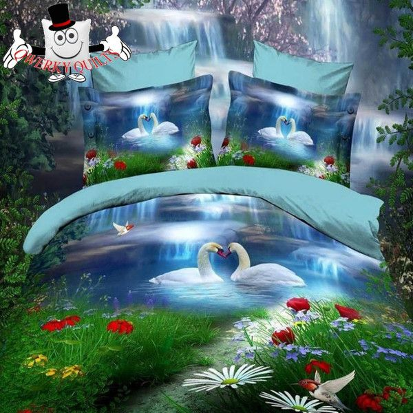 3d Bed Set Mystical Lake Swan Bedding Set And 3d Quilt
