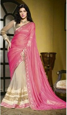 Pink Color Chiffon and Net Traditional Wear Sari | FH485174700