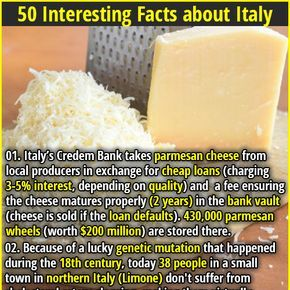 1. Italy's Credem Bank takes parmesan cheese from local producers in exchange for cheap loans (charging 3-5% interest, depending on quality) and a fee ensuring the cheese matures properly (2 years) in the bank vault (cheese is sold if the loan defaults). 430,000 parmesan wheels (worth $200 million) are stored there. 2. In Turin Italy, you must walk your dog 3 times a day or face a fine.