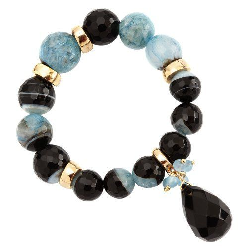 Vika Jewelry - Blue Multicolor Jade And Onyx Stretch Bracelet With 18K Gold Plated Details VIKA (Jewelry from Brazil). $98.00. Plate guarantee: 6 months