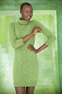Close-fitting dress with contour body fit and single front cable panel, with rolled turtleneck and knit from the top down.