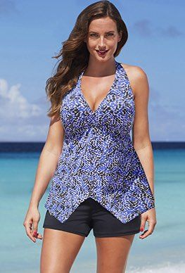 Contemporary Looks - Shore Club Bluebonnet Handkerchief Halter Banded Shortini