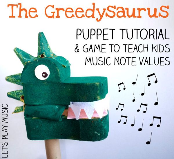 Dinosaur puppet craft and music note values game - preschool music, early music theory, rhythm game.