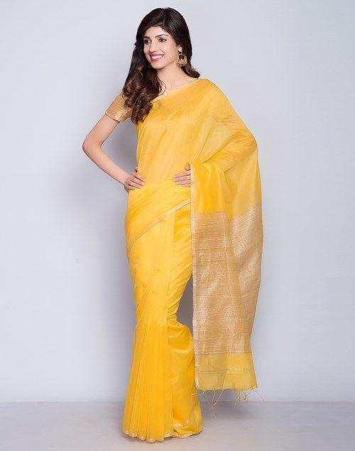 Buy Fabindia Yellow Silk Cotton Chanderi Ghicha Stripe Sari online - Fabindia.com