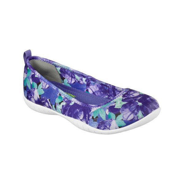 Women's Skechers Atomic Sweet Bouquet Ballet Flat - Purple Multi... ($58) ❤ liked on Polyvore featuring shoes, flats, ballet flats, casual, purple, skechers flats, flexible ballet flats, floral print flats, purple ballet flats and slip-on shoes