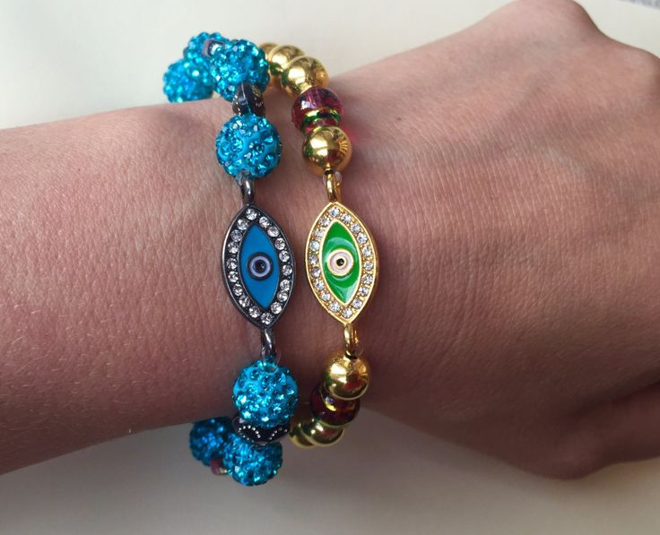 Evil Eye Bracelet, Evil Eye Charm bracelet, Good luck charm Evil Eye Bracelet  made of Gold Plated Beads and SHAMBALLA Rhinestone Disco Ball by BarbarittasBoutique on Etsy