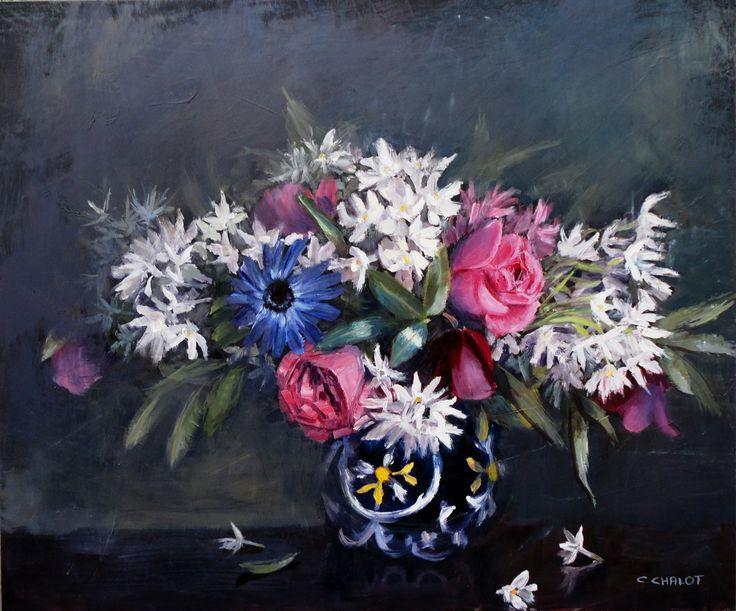 Bouquet de narcisses, roses, ellébores et anémones dans un vase Nabeul huile sur panneau de bois 46*55cm