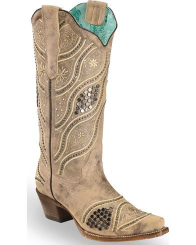 7a43da03541 Corral Women s Embroidered Studded Bridal Cowgirl Boots - Snip Toe ...