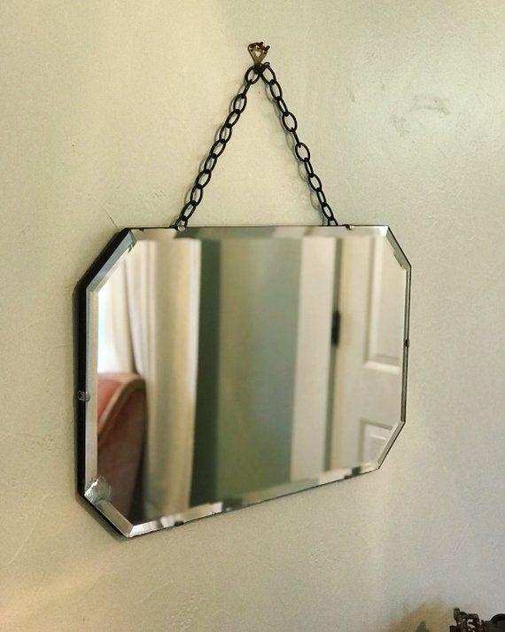 Frameless mirror: Art Deco mirror / antique mirror / vintage vanity mirror  / hanging wall mirror - Frameless Mirror: Art Deco Mirror / Antique Mirror / Vintage Vanity