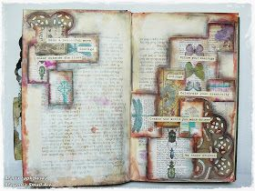 Hello in September ;) Today I wish to show you my art journal pages. I created my spread in an old book. You can purchase book like that ...