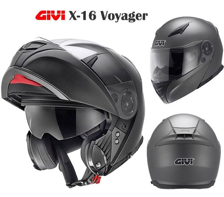 GIVI X-16 Voyager #moto Flip up #casco 194,65 €. Hecho con el material termoplástico, equipado del protector de barbilla abrible y del visera del sol. Comprar con @maximomoto