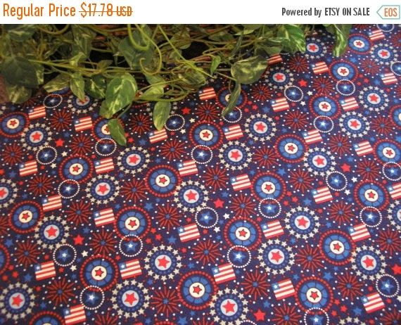 ON SALE Table Runner Flags Fireworks Stars Patriotic by MakeMeOver