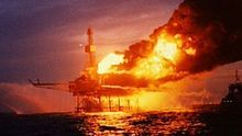 Piper Alpha on fire shortly after the second explosion