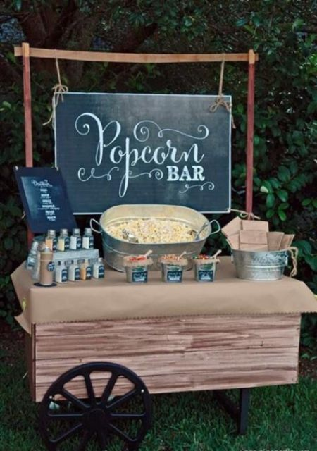26 Wedding Reception Popcorn Station Ideas. A rustic market cart used as a popcorn bar table-top. Galvanized wash tubs make excellent popcorn containers.