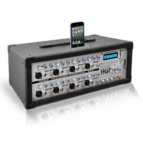 8-Channel 600 Watt Professional Mixer - iPod Dock, MP3 Player Input, SD and USB Flash Memory Readers