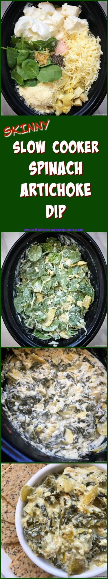 Spinach artichoke dip is served as a shared appetizer at not just restaurants but at potlucks and sports gatherings as well. This skinny, slow cooker version will please any crowd!