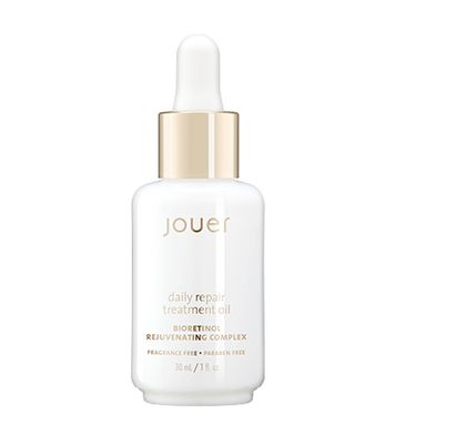 Daily Repair Treatment Oil | Jouer CosmeticsAn advanced complexion oil formulated with Revinage™,a bioretinol complex that mimics the positive effects of a Retinol, without the harsh side effects. Rose Hip Oil delivers antioxidant protection, while Starflower Oil quenches and helps to rejuvenate the skin, providing optimal hydration benefits. The result is skin that appears smoother, firmer, and more resilient.    30mL/1 fl oz. white glass bottle with dropper CHRISTINA'S TIPS After…