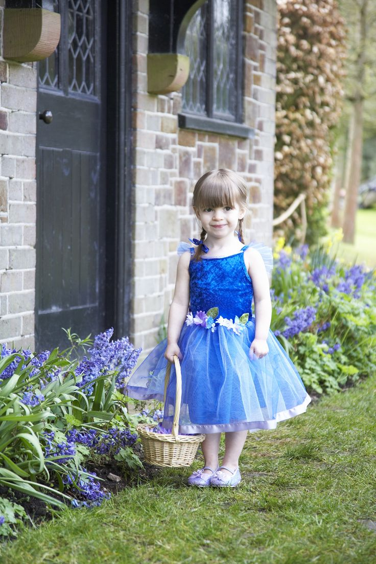 Flower Fairy ~  This adorable vibrant blue fairy fancy dress costume has a soft velour bodice, shoulder straps with ruffled soft net, sequins around the neckline, a full net overskirt with lilac satin ribbon edging and pretty lilac and white flowers at the waist.  For under 3's the sequins are replaced by braid. 18 mths-2 years, 2-3 years, 3-5 years and 6-8 years  £28.00