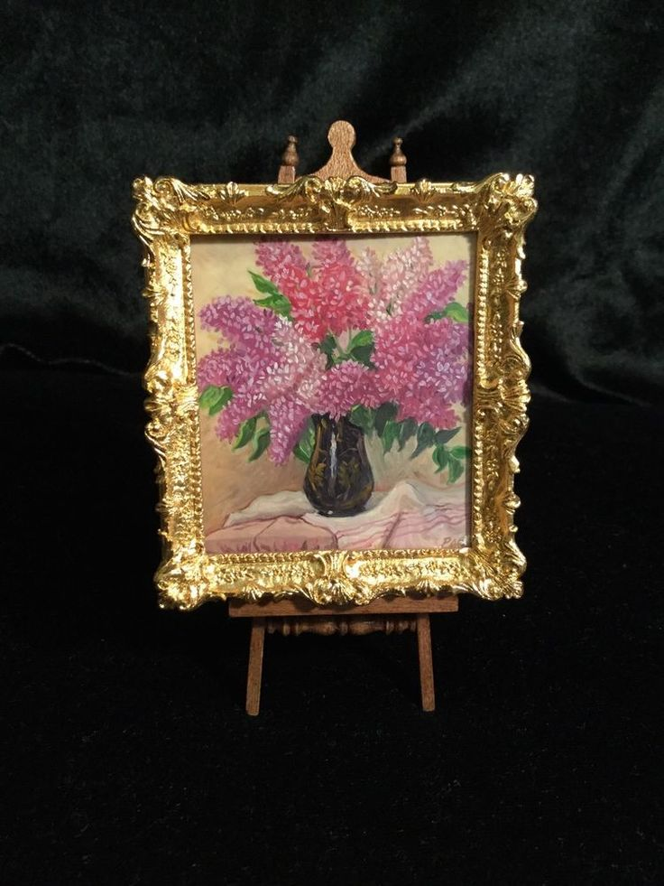 """Miniature Paul Saltarelli Painting & a John Hodgson Gold Resin Framen = oil painting by Paul Saltarelli """"Lilacs in a black vase"""". It measures 2-1/2 x 2-1/4.  I have this displayed in a John Hodgson frame.  This fits perfectly, but it is not professionally framed. Z"""