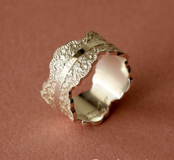 Unique Silver Ring with Lace Texture by PreciousLaceJewelry