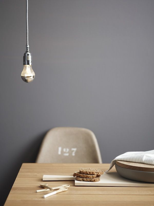 bare light bulb: Decor, Interior Design, Grey Walls, Chair, Idea, Wall Colour, Interiors, Wall Color, Light