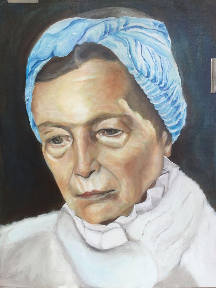 Painting Esther Eggink, oil, Simone de Beauvoir