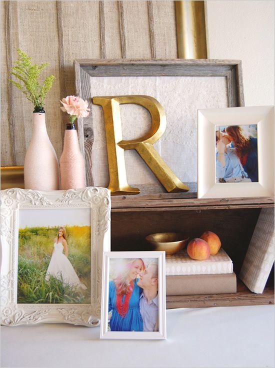 photo table ideas for the wedding: Photos Tables, Diy Wedding Decor Gold, Decor Ideas, Good Ideas, Wedding Gifts Tables Decor, Wedding Photos, Colors Schemes, Tables Ideas, Diy Wedding Shower Ideas