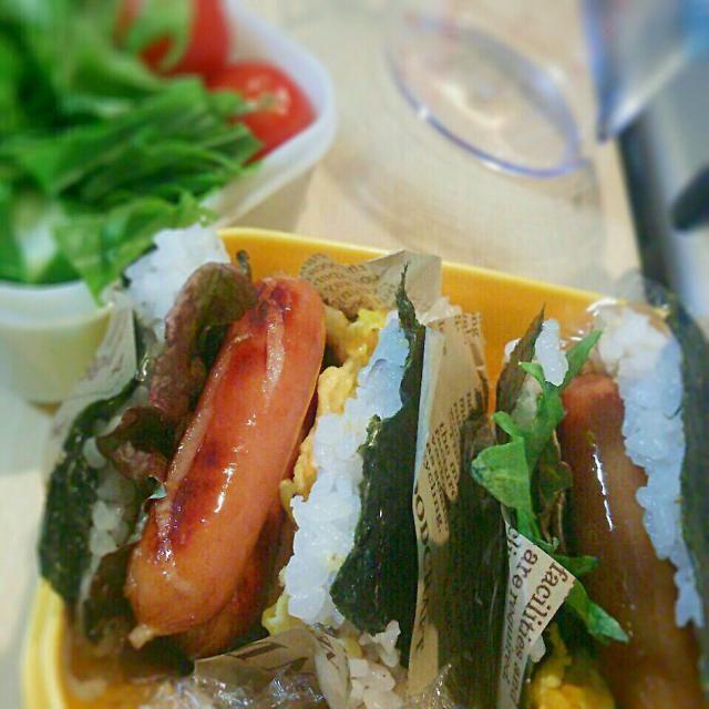 パンの代わりにお米と海苔でサンドイッチならぬ、おにぎりサンド(*^^*)美味しいょ☆ - 16件のもぐもぐ - 旦那弁当☆おにぎりサンド♪( ´∀`) by *ゆらりこ*