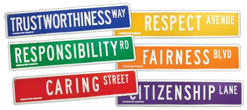 Road to Character Street Signs (Set of 6)  Maybe place a sign on the hallways.