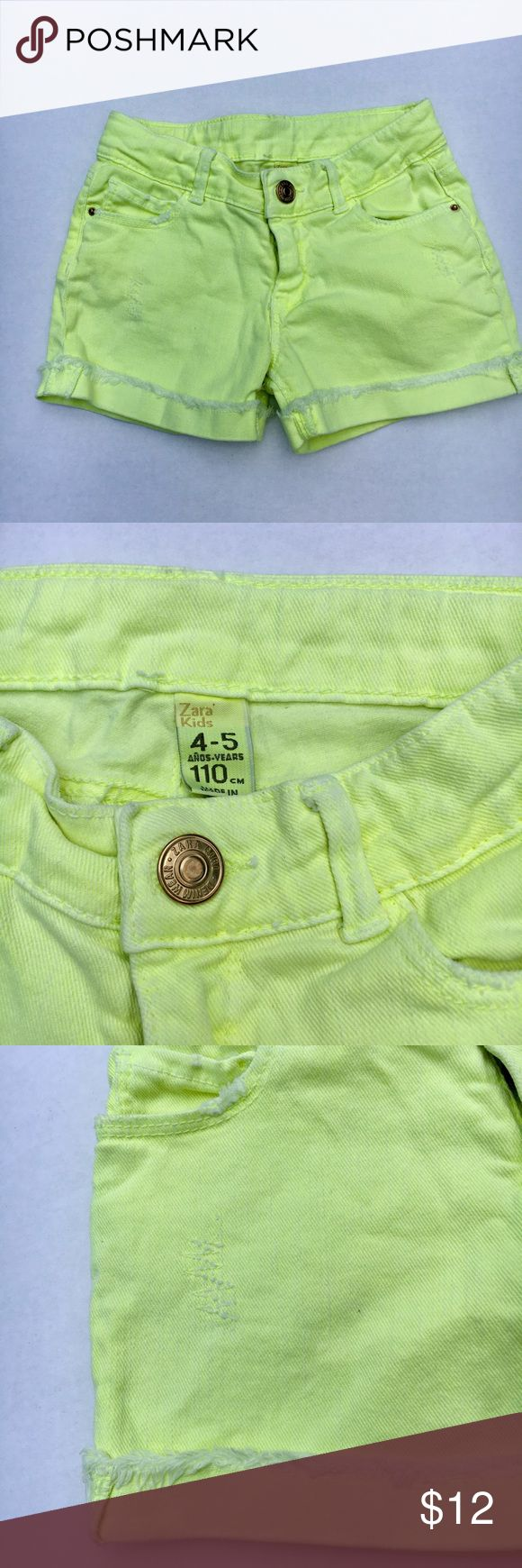 Zara Kids neon yellow shorts Factory-frayed cuffs and distressing EUC: no stains, rips, or pilling.  Adjustable waist Denim fabric has a little stretch to it Zara Bottoms Shorts