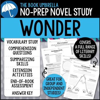 This is a novel study for Wonder by R.J. Palacio. 56 pages of student work, plus an answer key! This novel study divides Wonder into eight sections for study.