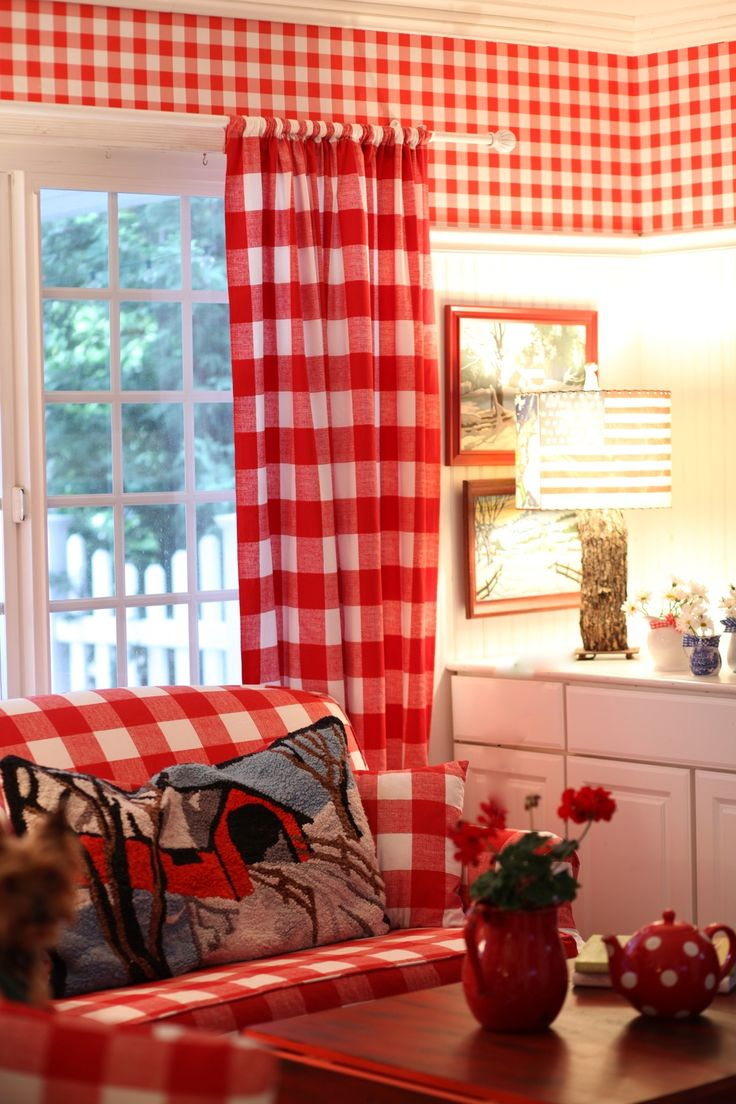 Red gingham curtains - Red And White Buffalo Checks