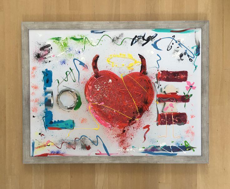 LOVE, 95 x 125, photo on canvas, acrylic paint - framed