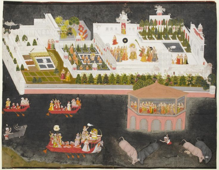 Indian kings sure knew how to party. This painting shows the great king Jagat Singh II enjoying himself in his grand palace. Look for him in three places in the picture: hunting water buffalo, swimming in his pool, and surrounding himself with women...