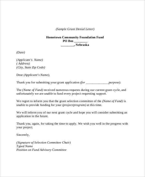 6 Sample Grant Rejection Letters Rejection Job Rejection