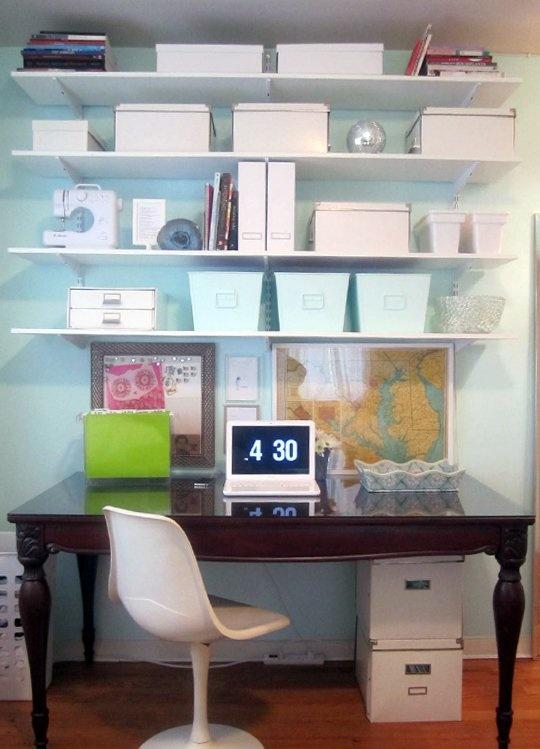 dining room table as desk. uniform white bins