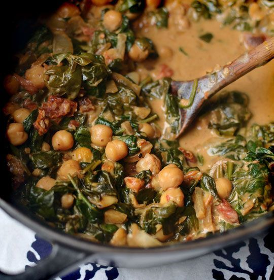 braised spinach, coconut and chickpeas with lemon: Dinners Recipes, Chickpeas Recipes, Baking Sweet Potatoes, Coconut Milk, Brai Coconut, Comforter Food, Freezers Meals, Roasted Sweet Potatoes, Coconut Spinach