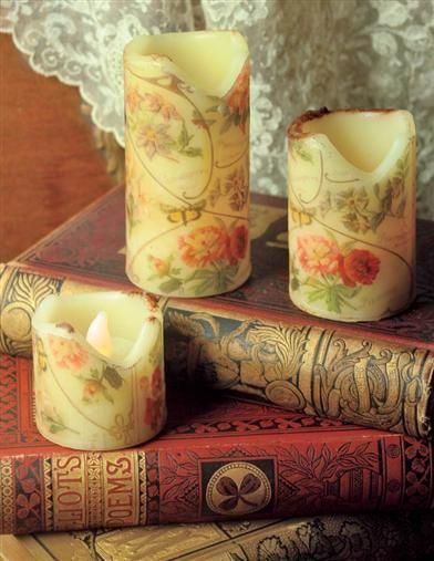 ELIZABETHAN ROSE FLICKER CANDLES (SET OF 3)