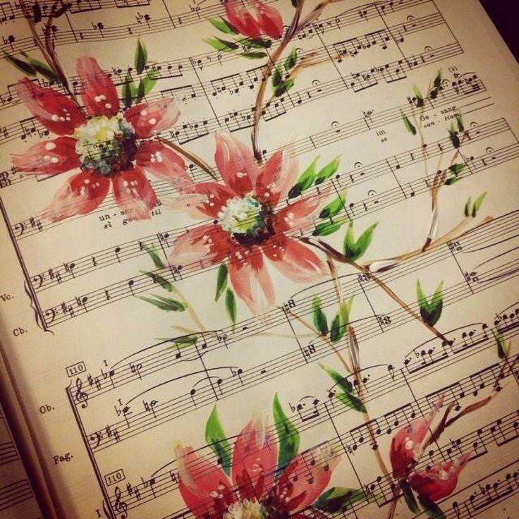 Flower on sheet music - painting by Noel Chapman McKelvy