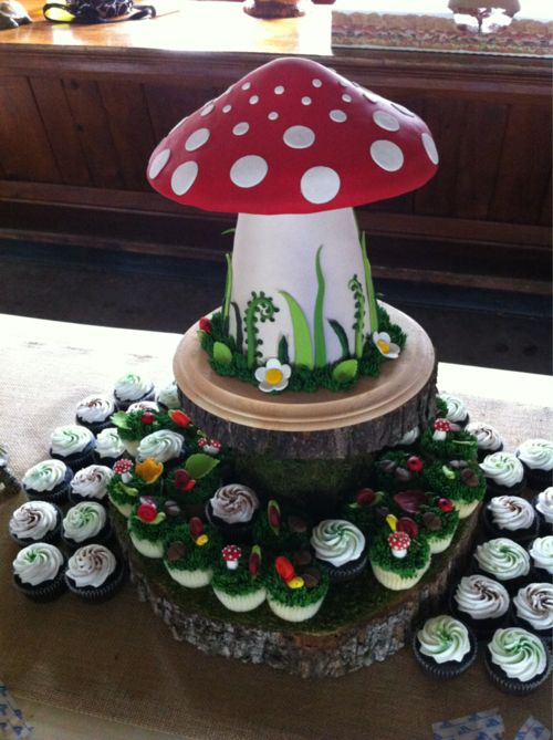 Toadstool cake, surrounded by cupcakes.