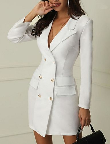 10e3600e Tuxedo suit dresses are very in this season. This one makes a chic cocktail  look! It has a double-breasted front with gold buttons and pockets on the  sides.
