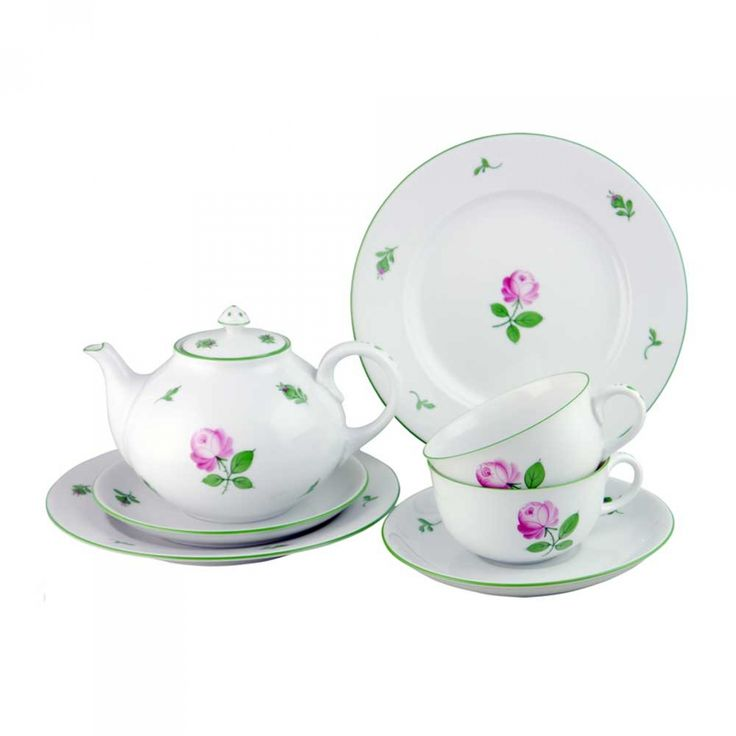 """Augarten Wien - Starterset- """"Viennese Rose"""" Teedish for two available at https://boulesse.com/en/product/4976/Augarten-Wien/Starterset-Viennese-Rose-Teedish-for-two"""