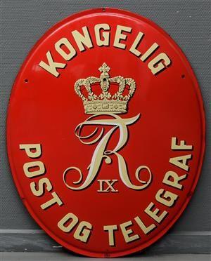 Emaljeskilt: Kongelig Post og Telegraf Frederik IX 73x57 cm. Fremstår med afslag…