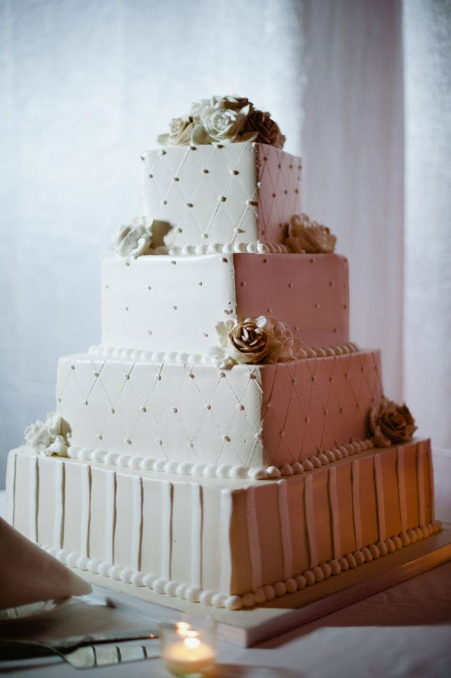 Elegant white on white wedding cake | Glamorous Seaside Wedding In Champagne & Blush Tones With Gatsby Like Art Deco Flair | Photograph by Off Beet Productions http://www.storyboardwedding.com/sophisticated-new-jersey-wedding-celebration-great-gatsby/